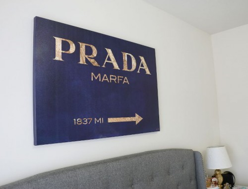 STYLEanthropy Master bedroom makeover, Prada Marfa wall art