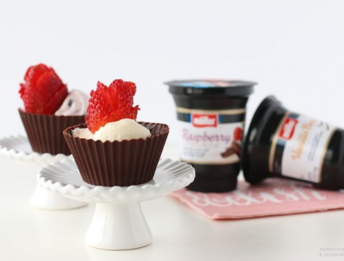Muller Yogurt Filled Chocolate cups recipe