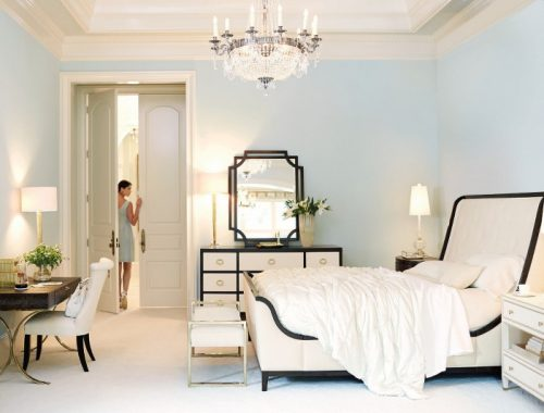 glam style bedroom, furniture, bed, black and white, clean look, light bedroom