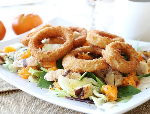 Grilled Chicken Onion Rings Asian Salad, food, salads